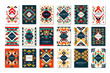 Colorful vector set of 9 card templates with geometric shapes. Abstract ethnic pattern. Elements for brochure, flyer or poster in trendy flat style