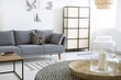 Leinwanddruck Bild - Patterned cushion on grey sofa next to screen in modern flat interior with posters. Real photo