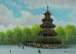 Leinwanddruck Bild - Chinesischer Turm im Englischen Garten in München