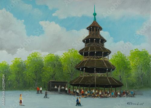 Leinwanddruck Bild Chinesischer Turm im Englischen Garten in München