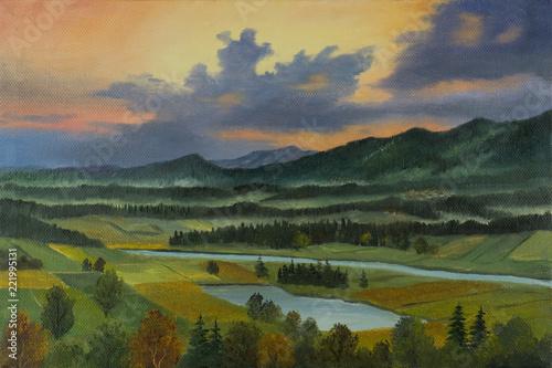 Leinwanddruck Bild Landschaft mit Fluß und See in der Abenddämmerung