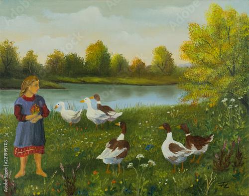 Leinwanddruck Bild Mädchen beobachtet am See die Enten und Gänse