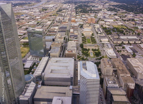 Aerial high angle drone shot of downtown Oklahoma City.