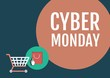 Cyber Monday Sale with illustrated elements