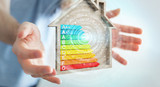 Businessman using 3D rendering energy rating chart in a wooden house - 221996763
