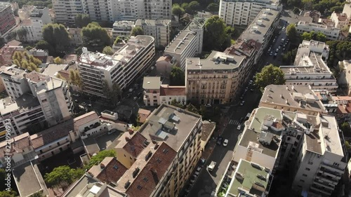 Poster Top view above city street of Marseille drone footage 4K