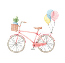 Hand Drawn Watercolor Illustration  Romantic Bike  Flower Basket In Pastel Colours City Bicycle Amsterdam Perfect For Invitations Greeting Cards Posters Prints Sticker