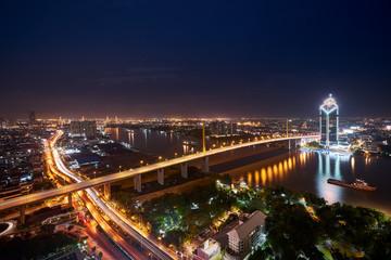 wonderful arrow traffic road hang bridge and cityscape © bank215