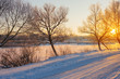 Leinwanddruck Bild - winter morning with snow and frost