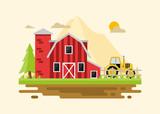 Flat farm landscape with farmhouse.Farming agriculture concepts.Vector stock. - 221999560