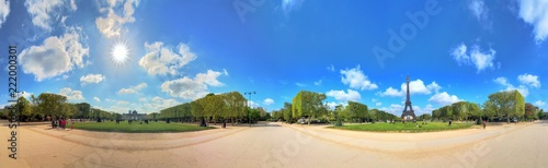 Beautiful 360 degree panorama in spring with a blue sky of the Eiffel tower in Paris, France - 222000301