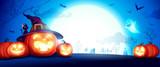 Halloween pumpkin patch in the moonlight. Jack O Lantern party. Horizontal banner.  - 222002961