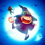 Cute Little Witch. Girl kid in Halloween costume jumping in the moonlight. - 222003102