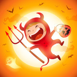 Cute Little Red Devil Demon. A kid in Halloween costume jumping in the moonlight.  - 222003124