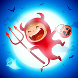 Cute Little Red Devil Demon. A kid in Halloween costume jumping in the moonlight.  - 222003151