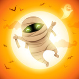 Cute Little Mummy. A kid in Halloween costume jumping in the moonlight.  - 222003161