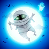 Cute Little Mummy. A kid in Halloween costume jumping in the moonlight.  - 222003167