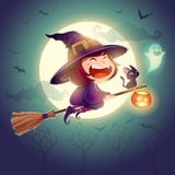 Halloween flying little witch. Girl kid in Halloween costume flying over the moon. Retro vintage. - 222003393