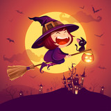 Halloween flying little witch. Girl kid in Halloween costume flying over the moon. Retro vintage. - 222003394
