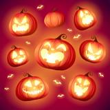 Set pumpkins of Halloween. A variety of pumpkins for Halloween design. Collection of Halloween pumpkins. - 222003527