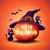 Halloween pumpkin. Jack O Lantern Pumpkin with witch hat. - 222003797