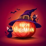 Halloween pumpkin. Jack O Lantern Pumpkin with witch hat. - 222003799
