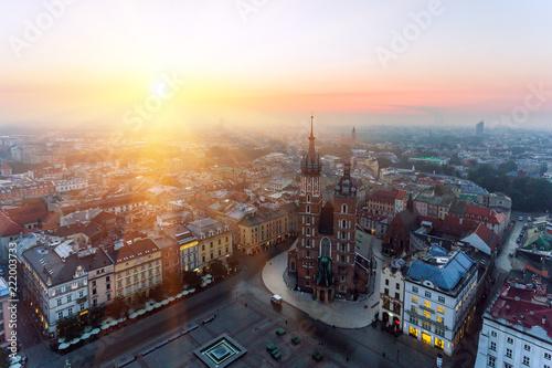 obraz PCV Krakow Market Square, Aerial sunrise
