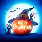 Halloween pumpkin. Jack O Lantern Pumpkin with witch hat in the moonlight. - 222003925
