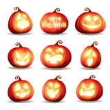 Set pumpkins of Halloween. A variety of pumpkins for Halloween design. Collection of Halloween pumpkins. - 222005953