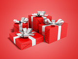 Red four gift tied with silver ribbon 3D render on red background with shadow - 222011107