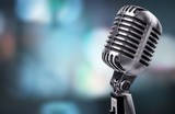 Retro style microphone on  background - 222013311