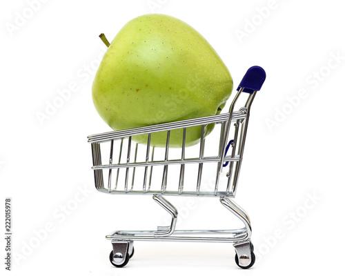 Apple shopping cart on white background - 222015978