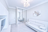 The interior of a modern apartment in white. - 222026181