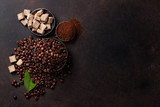 Coffee beans and ground powder - 222027995