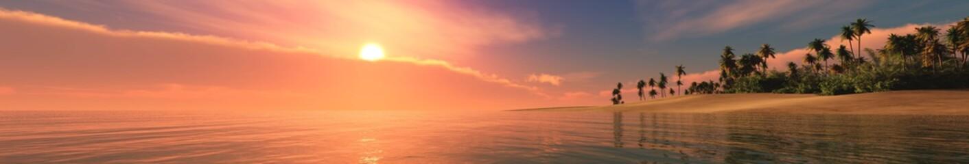 Sea sunset. Panorama of the sea landscape. Tropical beach at sunset.  © ustas