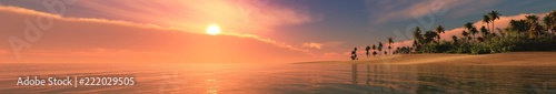 Sea sunset. Panorama of the sea landscape. Tropical beach at sunset.  - 222029505