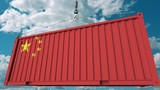 Loading cargo container with flag of China. Chinese import or export related conceptual 3D animation - 222032776