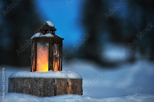 Leinwanddruck Bild Candle lantern
