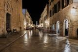 Dubrownik at night in Croatia, Europe