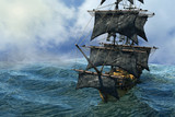pirate ship sailing on the sea, 3D render - 222037581