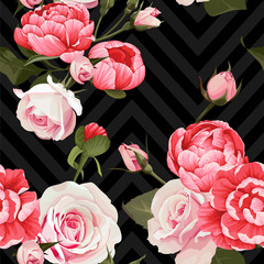 Peony and roses vector seamless pattern floral texture on a dark chevron backgrounds © Лилия Судакова