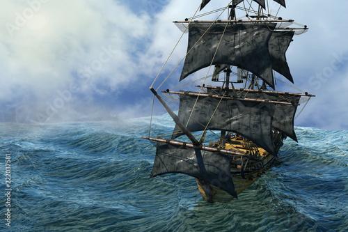 Fototapeta pirate ship sailing on the sea, 3D render