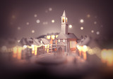 A festive christmas town centre with a church on christmas eve with glowing street lights and decorations. 3D illustration. - 222049765