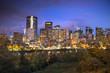 Downtown Calgary Alberta Canada skyline at night