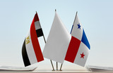 Flags of Egypt and Panama with a white flag in the middle - 222057318