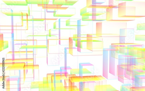 Colorful abstract digital and technology background. The pattern with repeating rectangles. 3D illustration - 222058963