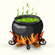 Wtch cauldron with boiling poison and bonfire