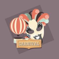 retro carnival mask beard and hot air balloon