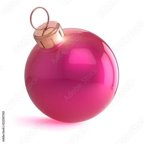 Boże Narodzenie Boże Narodzenie piłka różowy błyszczący wystrój, szczęśliwego nowego roku bombka musujące, dekoracje zimowe sfera wiszące ozdoby nowoczesny symbol tradycyjnych. 3d rendering