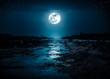 Leinwanddruck Bild - Landscape of night sky with many stars and bright full moon.